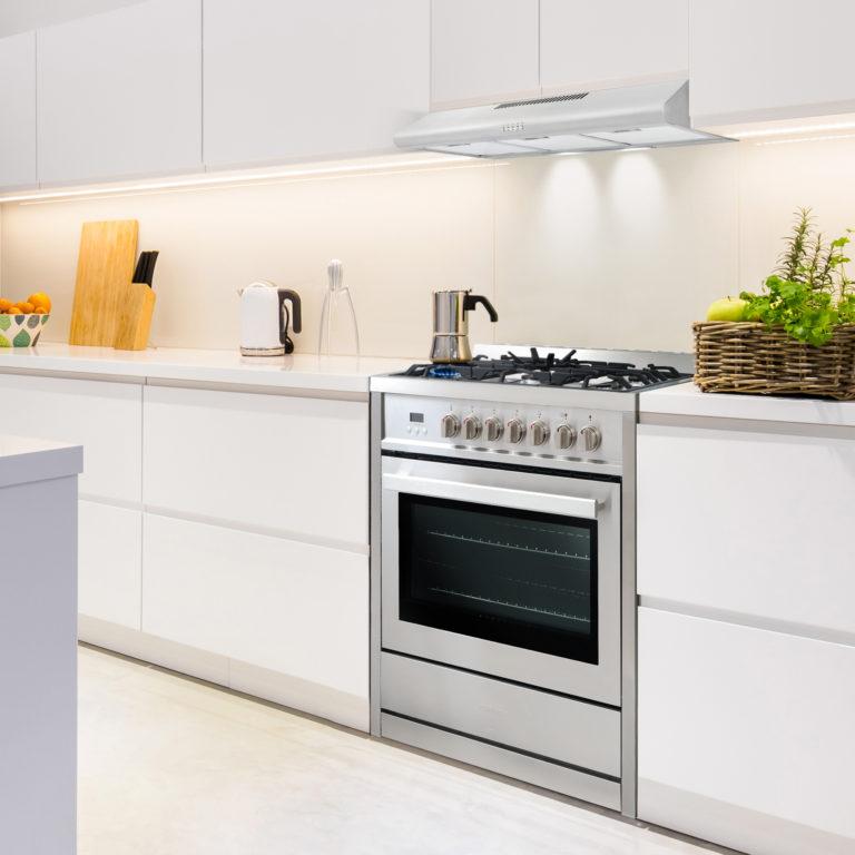 Spacious kitchen with modern furnitures