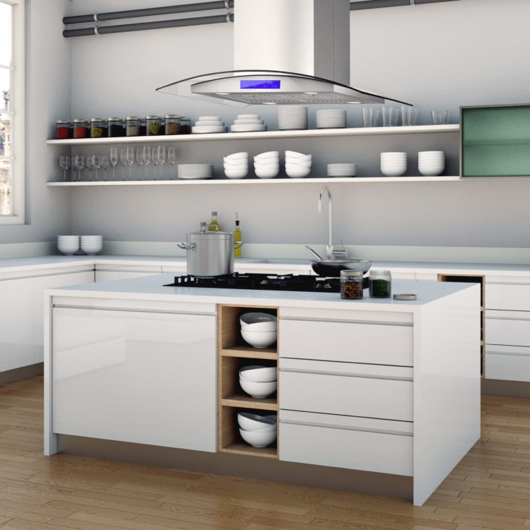 3d Illustration of white modern kitchen in a house with a beautiful design